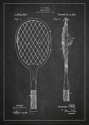 Vintage Tennnis Racket Patent Drawing From 1921 Poster by Aged Pixel