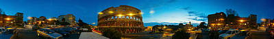 360 Degree View Of An Amphitheater Lit Poster by Panoramic Images