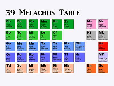 39 Melachos  Poster by Anshie Kagan