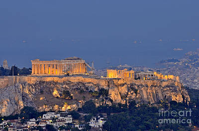 Acropolis Of Athens During Sunrise Poster by George Atsametakis