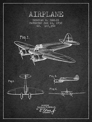 Airplane Patent Drawing From 1938 Poster by Aged Pixel