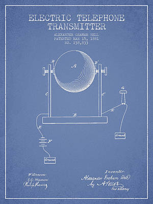 Alexander Graham Bell Electric Telephone Transmitter Patent From Poster by Aged Pixel