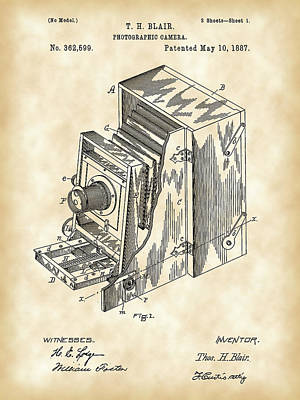 Camera Patent 1887 - Vintage Poster by Stephen Younts