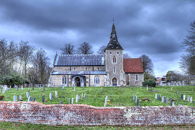 Church And Graveyard At Dusk Poster by Fizzy Image