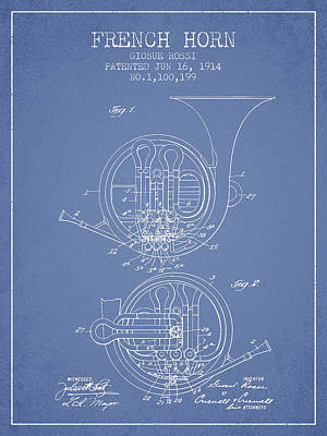 French Horn Patent From 1914 - Light Blue Poster by Aged Pixel