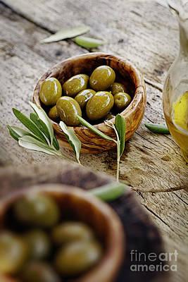 Fresh Olives Poster by Mythja  Photography