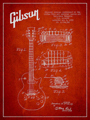 Mccarty Gibson Les Paul Guitar Patent Drawing From 1955 - Red Poster by Aged Pixel