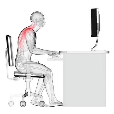 Person Sitting With Incorrect Posture Poster by Sebastian Kaulitzki