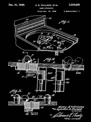 Pinball Machine Patent 1939 - Black Poster by Stephen Younts