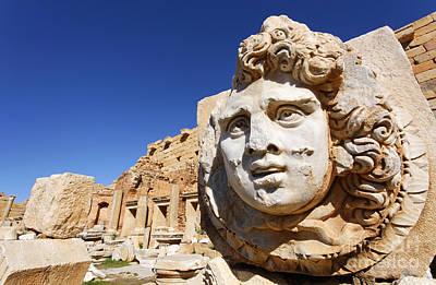 Sculpted Medusa Head At The Forum Of Severus At Leptis Magna In Libya Poster by Robert Preston
