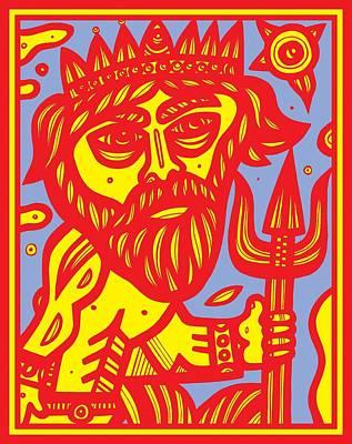 Berlinghof Poseidon Yellow Red Poster by Eddie Alfaro