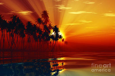 Sun Rays Inside Coconut Palms Poster by Aleksey Tugolukov