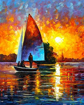 Sunset By The Lake Poster by Leonid Afremov
