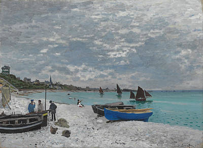 The Beach At Sainte-adresse Poster by Claude Monet