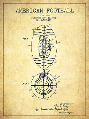 Vintage American Football Patent Drawing From 1923 Poster by Aged Pixel