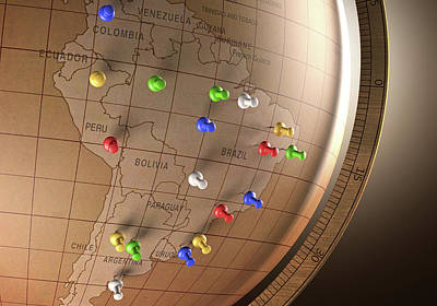 Vintage Globe With Push Pins Poster by Ktsdesign