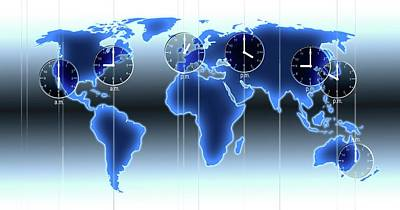 World Map Illustration With Time Zones Poster by Alfred Pasieka