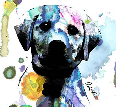 48x44 Labrador Puppy Dog Art- Huge Signed Art Abstract Paintings Modern Www.splashyartist.com Poster by Robert R Splashy Art Abstract Paintings