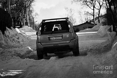 4x4 Suv Travelling Uphill Through Snow In Kirkenes Finnmark Norway Europe Poster by Joe Fox
