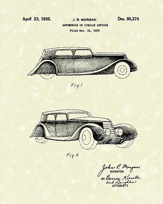Automobile 1935 Patent Art Poster by Prior Art Design