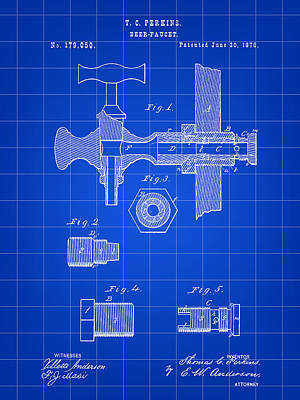 Beer Tap Patent 1876 - Blue Poster by Stephen Younts