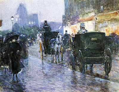 Horse Drawn Cabs At Evening Poster by Childe Hassam