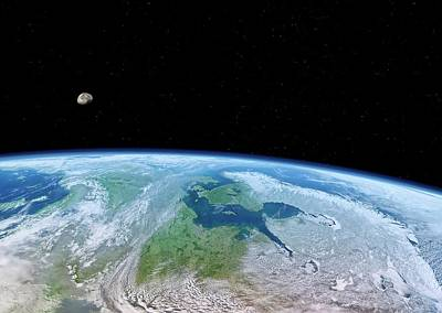Earth And Moon From Space Poster by Detlev Van Ravenswaay