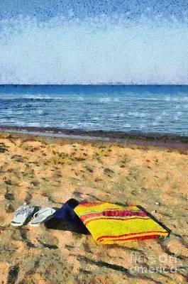 Flip Flops And Towels On Beach Poster by George Atsametakis