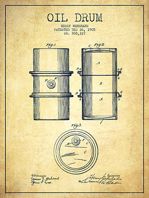 Oil Drum Patent Drawing From 1905 Poster by Aged Pixel