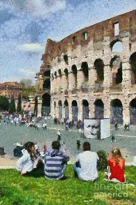 Outside Colosseum In Rome Poster by George Atsametakis