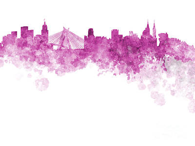 Sao Paulo Skyline In Watercolor On White Background Poster by Pablo Romero