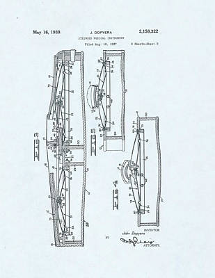 Violin Patent Drawing On Blue Background Poster by Steve Kearns