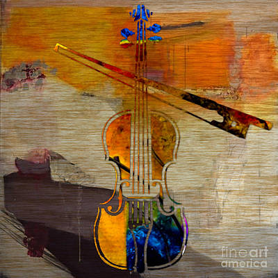 Violin And Bow Poster by Marvin Blaine