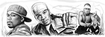 50 Cent Art Drawing Sketch Poster Poster by Kim Wang
