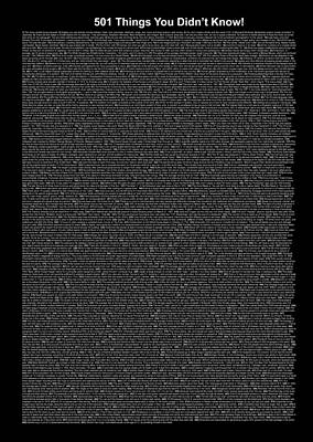 501 Things You Didn't Know - Black Color Poster by Pamela Johnson