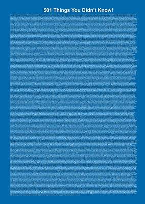 501 Things You Didn't Know - Blue Cadet Color Poster by Pamela Johnson
