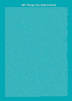 501 Things You Didn't Know - Blue Ocean Color Poster by Pamela Johnson