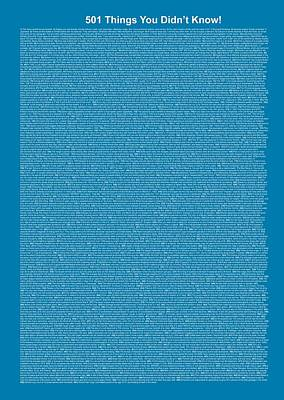 501 Things You Didn't Know - Blue Steel Color Poster by Pamela Johnson
