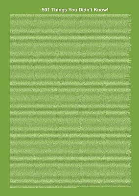 501 Things You Didn't Know - Green Apple Color Poster by Pamela Johnson