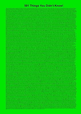 501 Things You Didn't Know - Green Neon Color Poster by Pamela Johnson