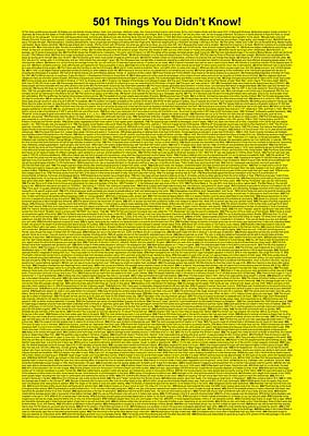 501 Things You Didn't Know - Yellow Color Poster by Pamela Johnson