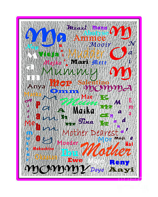 52 Ways To Say Mother Poster by Barbara Griffin