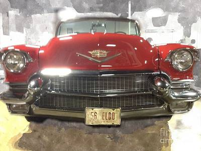 56 Red Cadillac Poster by Robert Wek
