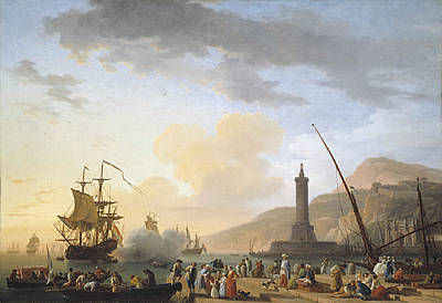A Seaport At Sunset Poster by Claude-joseph Vernet