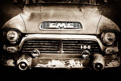 1957 Gmc V8 Pickup Truck Grille Emblem Poster by Jill Reger