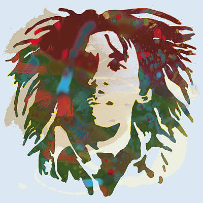 Bob Marley Stylised Pop Art Drawing Potrait Poser Poster by Kim Wang