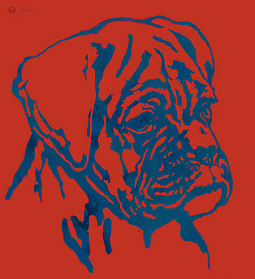 Dog Stylised Pop Modern Etching Art Portrait Poster by Kim Wang