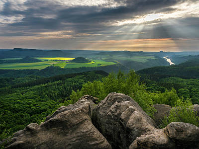 Elbe Sandstone Mountains Poster by Martin Zwick