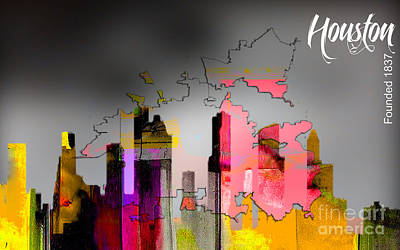 Houston Texas Map And Skyline Watercolor Poster by Marvin Blaine