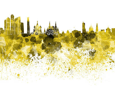 Moscow Skyline White Background Poster by Pablo Romero